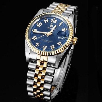 For steel fully automatic ik mechanical watch calendar waterproof mens watch male fashion commercial watch
