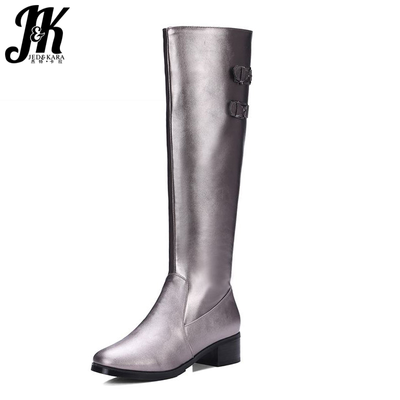Big Size 33-43 2016 New Style Thick Heels High Quality Zip Knee Boots Cozy Buckle Charm Add Fur Fall Winter Boots Women Shoes 2017 size 34 42 comfort thick med heels women boots add fur high quality knee high fall winter boots platform casual shoes woman