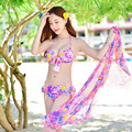 3 Piece Bikini Swimsuit Women with Veil Bathing Suit Summer Beachwear Sexy Print Floral Halter Swimwear China Shop Online Store