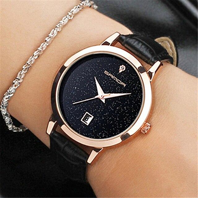 SANDA marca señoras reloj de cuarzo reloj de cuero impermeable reloj moda mujer romántica reloj Relogio Faminino Montre Femme