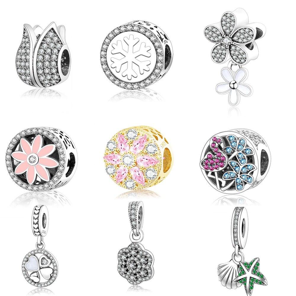 925 Sterling Silver Beads Luminoso Floreale Traforato Ciondola il Fascino Adatto Originale Pandora Charms Braccialetto per le Donne FAI DA TE Berloque