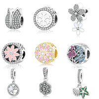925 Sterling Silver Beads Luminous Floral Openwork Dangle Charm Fits Original Pandora Charms Bracelet For Women