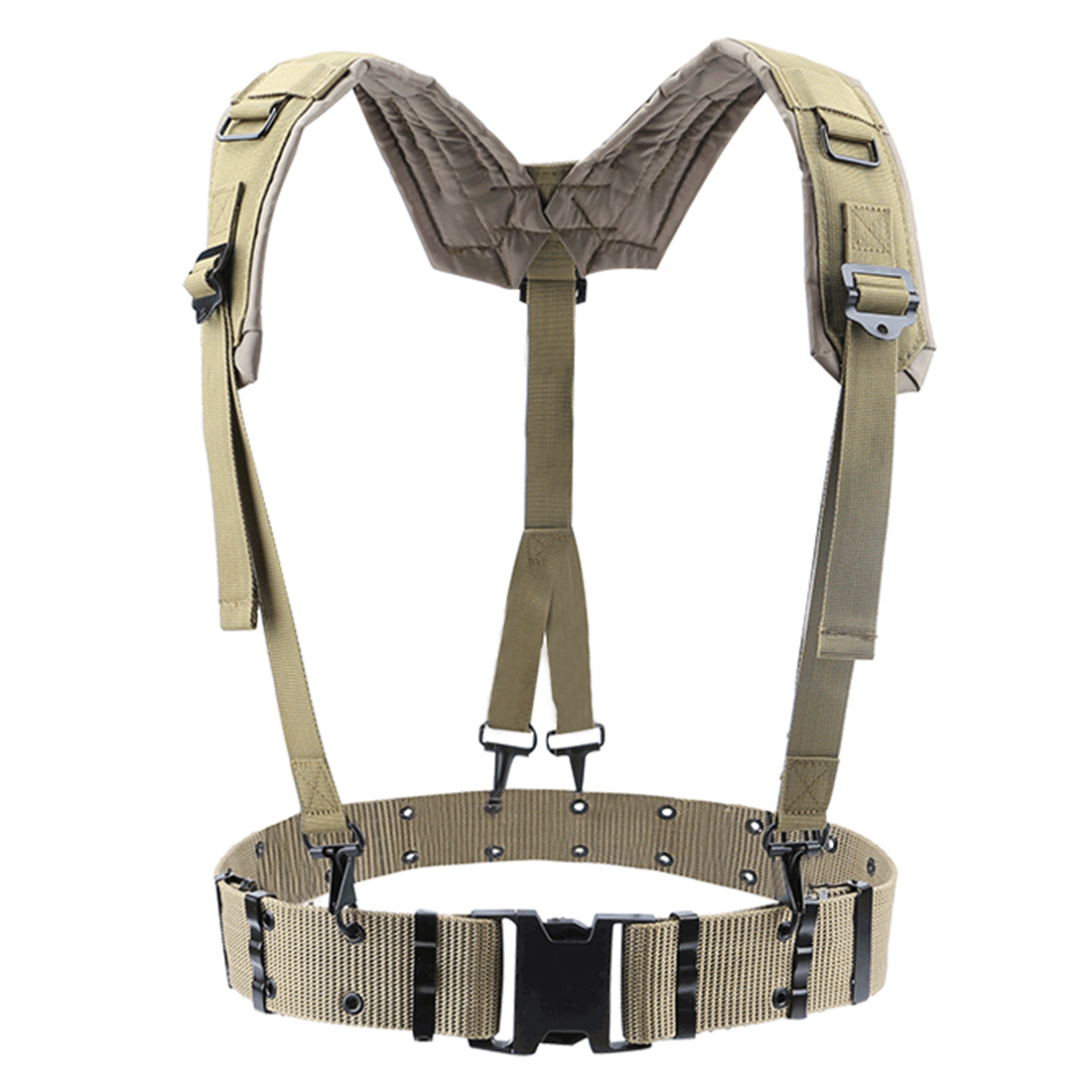 HTB1Tas.aOfrK1RjSspbq6A4pFXah - HS Adjustable Tactical Lightweight Waist Belt Harness Set for Outdoor Military Shoulder Waist Protective Band for Adult