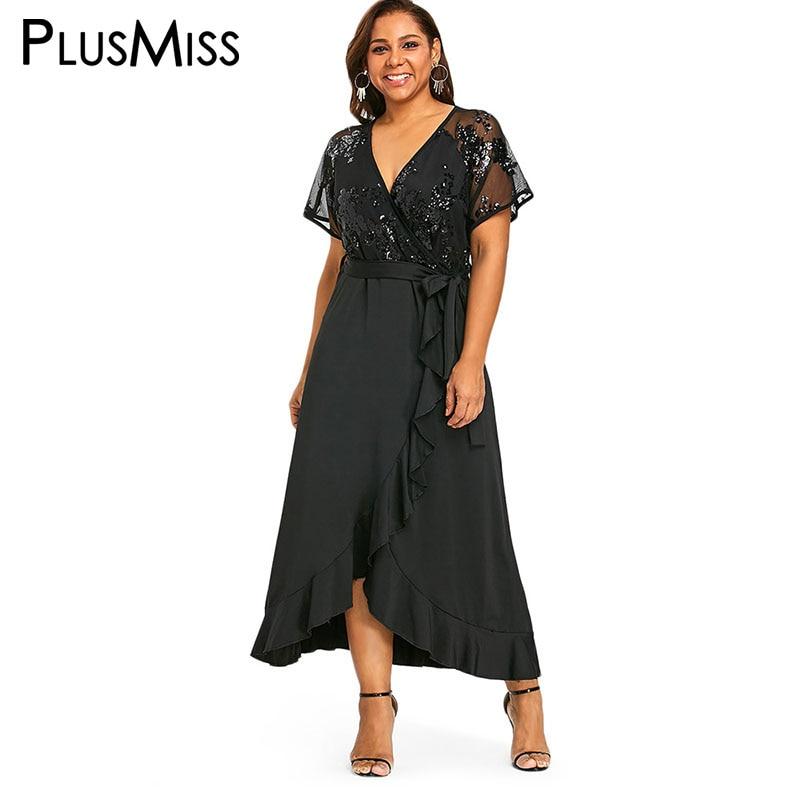 PlusMiss Plus Size 5XL 4XL Black Lace Sequin Maxi Long Dress with Belt Mesh Sexy V Neck Party Dresses Women Big Size Robe Femme