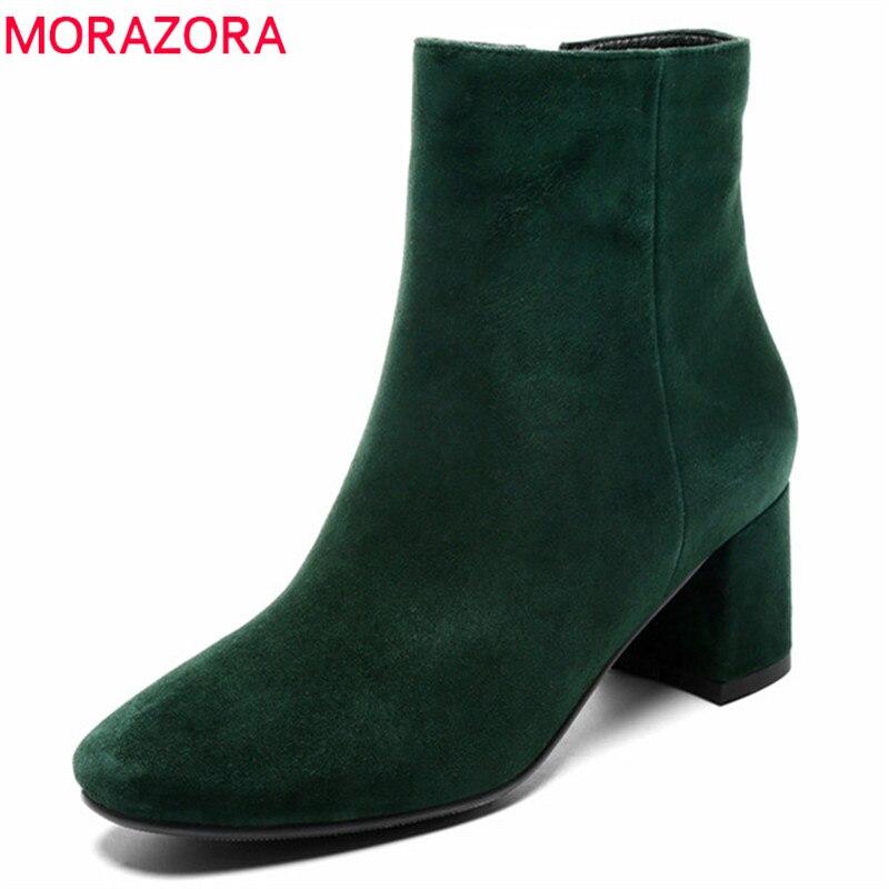 MORAZORA 2020 new arrival botki dla kobiet krowy zamszowe skórzane buty jesień zima stałe kolory wysokie obcasy buty kobieta w Buty do kostki od Buty na  Grupa 1