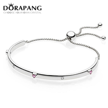 DORAPANG 2018 Valentine's Day Newest 100% 925 Sterling Silver Bracelet Heart shaped Charm Bead for Women DIY Adjustable Bangle