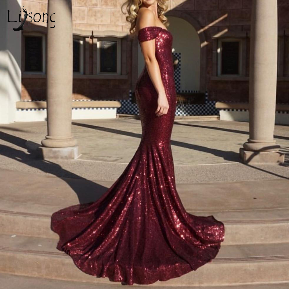 Sparkle Burgundy Sequined Mermaid   Prom     Dresses   Sexy Long   Prom   Gowns Sweetheart Long Formal Party   Dress   Vestido Formatura