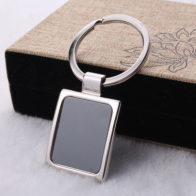 Promotional Advertising Logo Square Keychain Laser Lettering Business Cards Keyring Single Two Dimensional Code