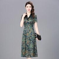 Винтаж Настоящее шелковое платье для женщин летнее платье Платья с цветочным принтом Длинные платья для вечеринок элегантная офисная одеж