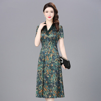 Vintage Real Silk Dress Women Summer Dress Print Floral Dresses Long Party Dresses Elegant Office Wear Vestidos Verano NW1597