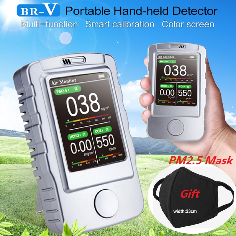 PM1.0 PM2.5 PM10 Formaldehyde HCHO Carbon Dioxide CO2 Meter Gas Detector Air Quality Monitor Gas Analyzer Gas Leak Detector