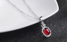 Luxury Jewelry Girls Lady's Red gem Stone for women sterling-silver-jewelry Pendants Female Luxury Fine Jewelry Pendant Chain