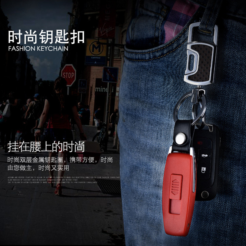 Image 2 - 2017 New USB Lighter Rechargeable Electronic Lighter Keychain Cigarette Turbo Lighter Leather Key Chain Flameless Cigar Palsma-in Matches from Home & Garden