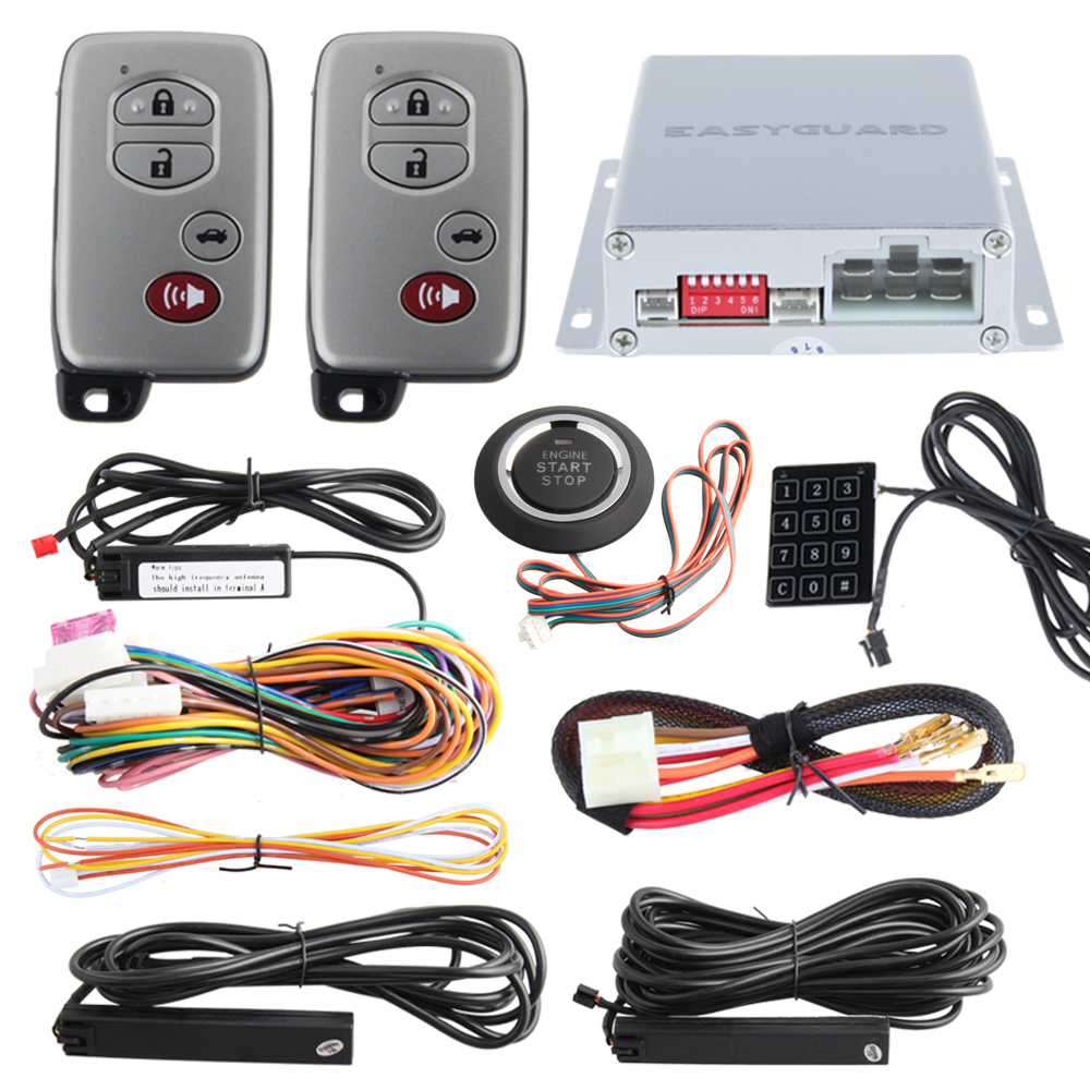 Car alarm system PKE smart key touch password entry power saving remote engine start starter push start stop button dc12v цена и фото