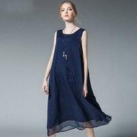 ノースリーブミディシフォンドレスプラスサイズの女性服夏シンプルなソリッドロングドレスxl 2xl 3xl 4xl
