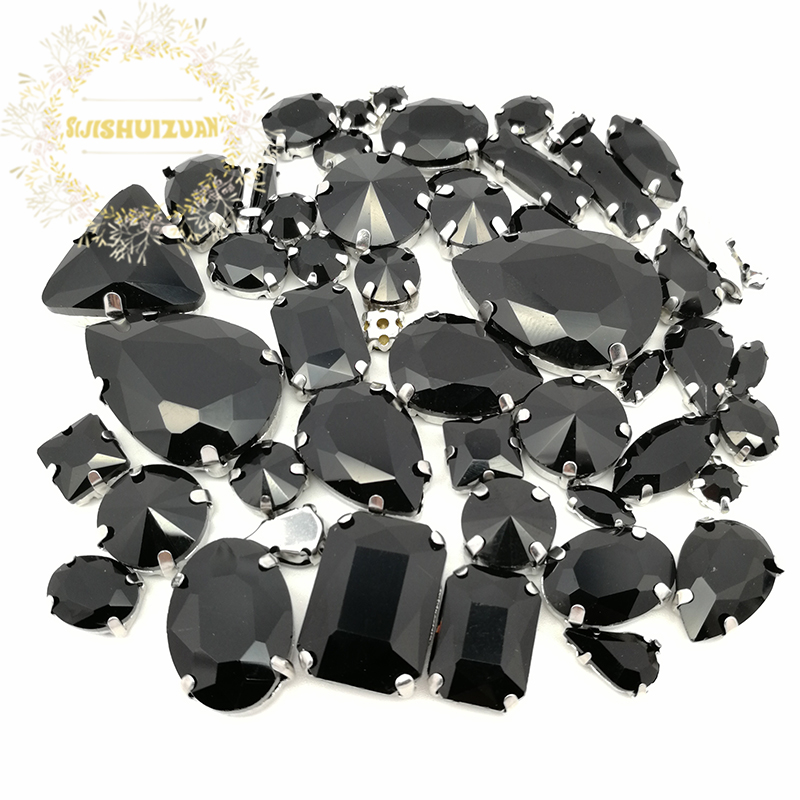 99c05918b9 US $3.98 53% OFF|52pcs 23sizes 10shapes MIX Black shape Crystal Glass Sew  on Rhinestones silvery Bottom DIY Women's Dresses sijishuizuan-in ...