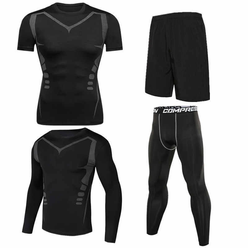 4pcs / set Men's Tracksuit Sport Suit Gym Fitness Compression Clothing Running Jogging Sport Wear Exercise Workout Tights