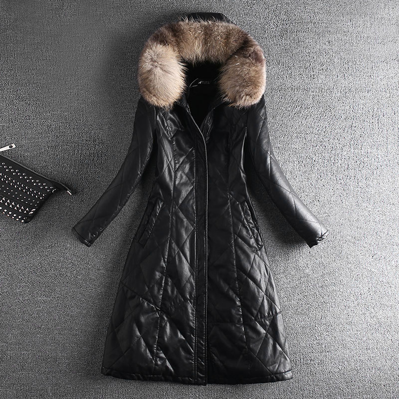Autumn Winter Thick Plus Velvet PU Faux   Leather   Zipper Jackets With Real Fur Female Medium Long Slim Hooded Coats OL Full Sleeve