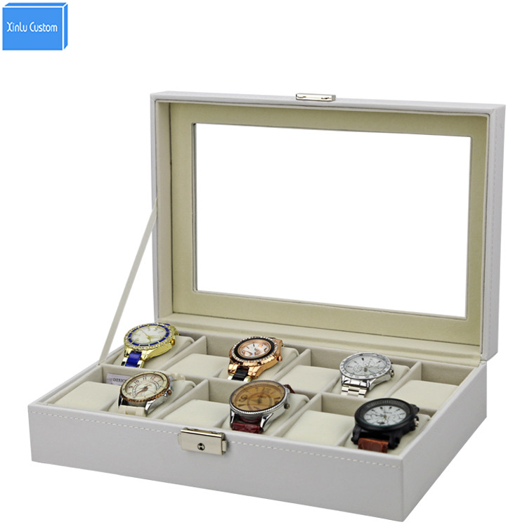 2017 best hot new design gift white leather  jewelry watches exhibitor case hours box with velvet pillow key lock watch box 12 2017 best hot new design gift white leather  jewelry watches exhibitor case hours box with velvet pillow key lock watch box 12
