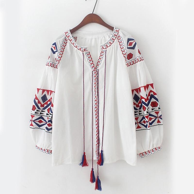Gland red Haut Fronts Dans Blouse Longues Les Boho Chemise Manches Ethnique Automne White Style Hippie Cravate Coton Maxican Floral Chic Brodé À Femmes Btqf88