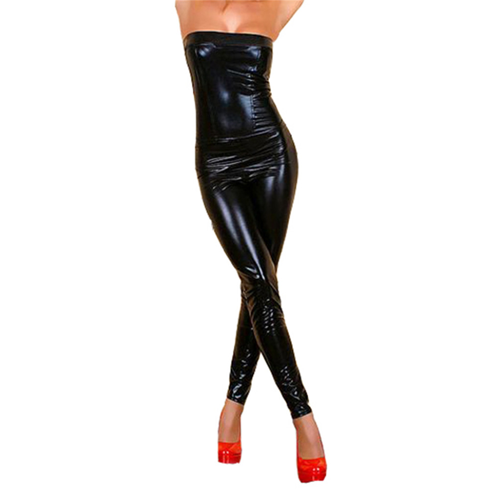 Black Faux Leather Jumpsuit Women Bodycon Tight One Piece Strapless Jumpsuit Back Zipper Party Sexy Bodysuit Catsuit Clubwear