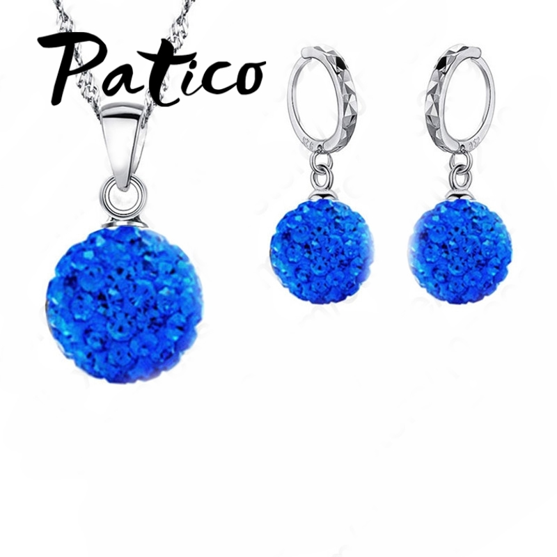 Patico 925 Silver Necklace Earrings Set Wedding Colorful Multi Style Crystal Stone Wedding Birthday Best Gift For Women