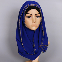 Vintage Solid Color 180 85cm Chiffon Scarf With Gold Beads Women Fashion Hijab Muslim Long Winter