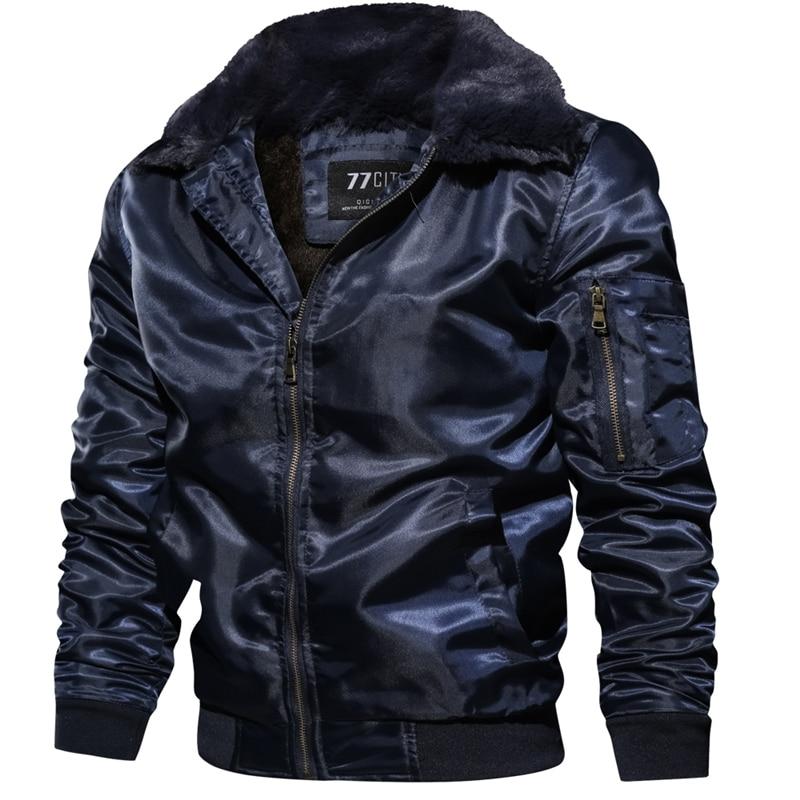 Coats Windbreaker Military-Jacket Fur-Collar Pilot Motorcycle Fleece Army Autumn Winter