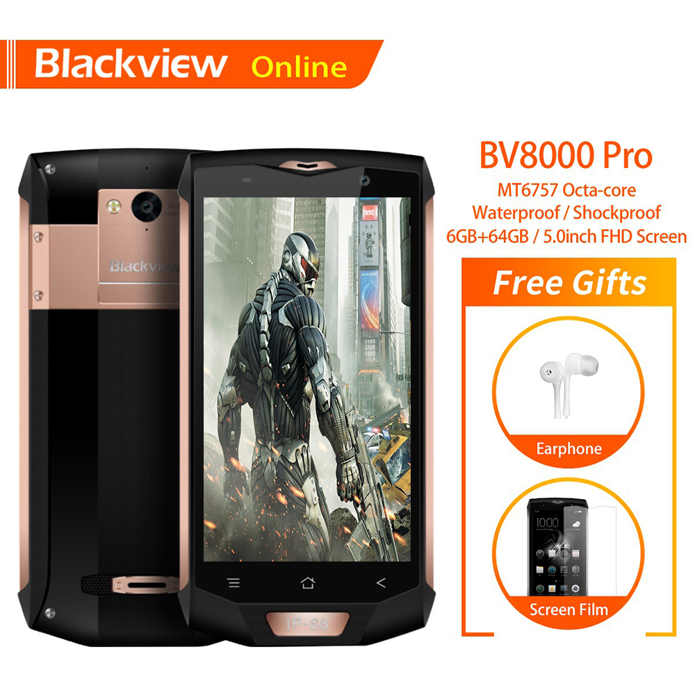 Blackview BV8000 Pro 5.0 inch IP68 Waterproof Rugged Mobile Phone 6G+64G Octa-Core FHD+IPS Screen Android 8.0 NFC GPS SmartphoneBlackview BV8000 Pro 5.0 inch IP68 Waterproof Rugged Mobile Phone 6G+64G Octa-Core FHD+IPS Screen Android 8.0 NFC GPS Smartphone