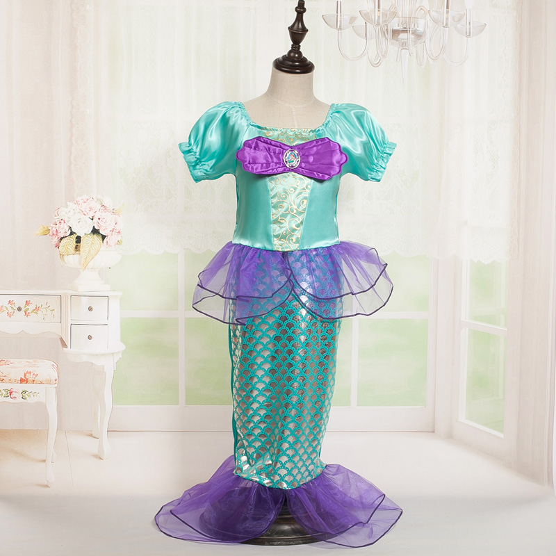 New The Little Mermaid Cosplay Dresses Girls Casual Princess Ariel Halloween Costume Children Puff Sleeve Dress With Mermaid