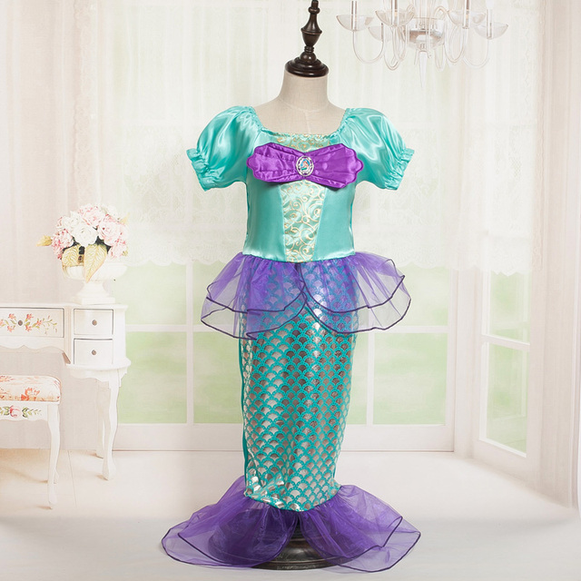 New The Little Mermaid Cosplay Dresses Girls Casual Princess Ariel Halloween Costume Children Puff Sleeve Dress & New The Little Mermaid Cosplay Dresses Girls Casual Princess Ariel ...