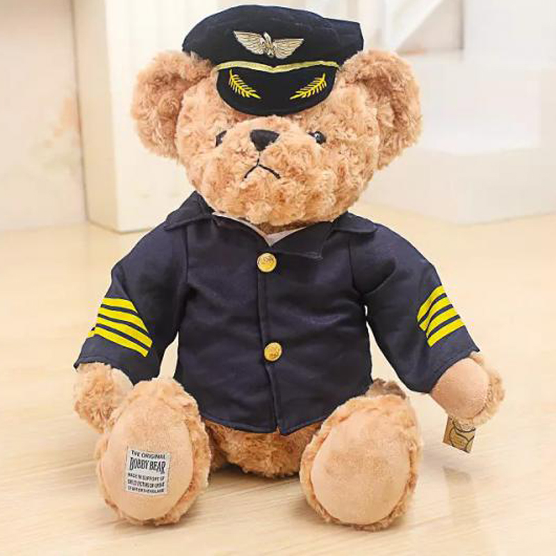 Cute Uniform Command Pilot Stewardess Couple Teddy Bear Plush Toy Birthday Christmas Gift Best Prsent For Lovers Girlfriend Boy super cute plush toy dog doll as a christmas gift for children s home decoration 20