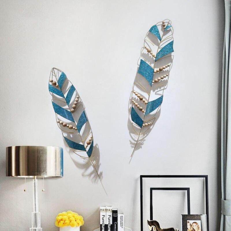 Méditerranéen 3D stéréo en fer forgé plume tenture murale décorative artisanat décoration salle de bain chambre miroir Orn R2142