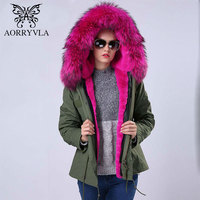 2016 Fashion Woman Army Green Big Raccoon Fur Collar Hooded Overcoat Wear Out 2 1 Detachable