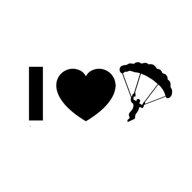 Оптовая 5шт,10шт,12.7 см*5.1 см личностью сердца прыжки с парашютом парашют мне смешно окна автомобиля Виниловые наклейки черный серебро
