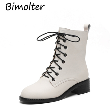 Bimolter Fashion Brand Women Ankle Boots Warm High Heels Martin Shoes Woman Party Wedding Pumps Basic Genuine Leather Boots C004