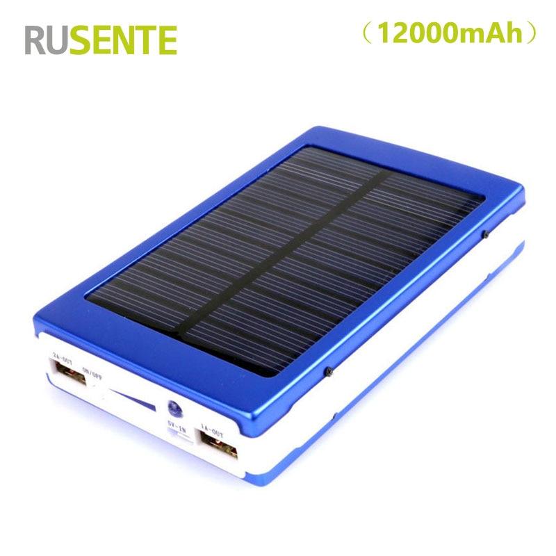 High quality Portable Solar Power Bank 12000mAh bateria externa portatil Dual USB LED Mobile Phone Battery Charger