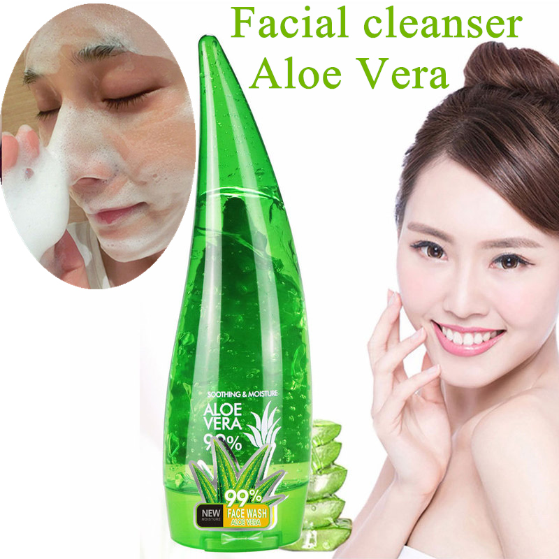 120ml 99% Aloe Vera Gel Facial Cleanser Remove Acne Scar Treatment Whitening Moisturizing Aloe Vera Face Wash Face Cleaner Cosme