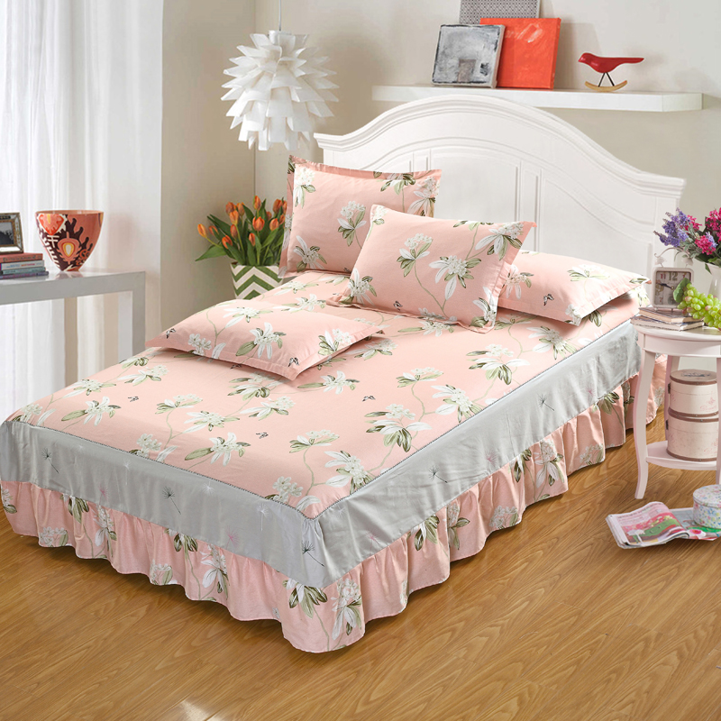 White flowers bedding for adult children Bed Covers Mattress Cover skirts Sheet pillows 100% Cotton twin full queen king size