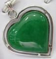 wholesale silver plated green jade inlay Pendant Necklace