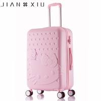 Hello Kitty One Set ABS PC Luxury Women Rolling Luggage Suitcase Designer 20 Inches High Quality 4 Wheels Spinner Airport Bag
