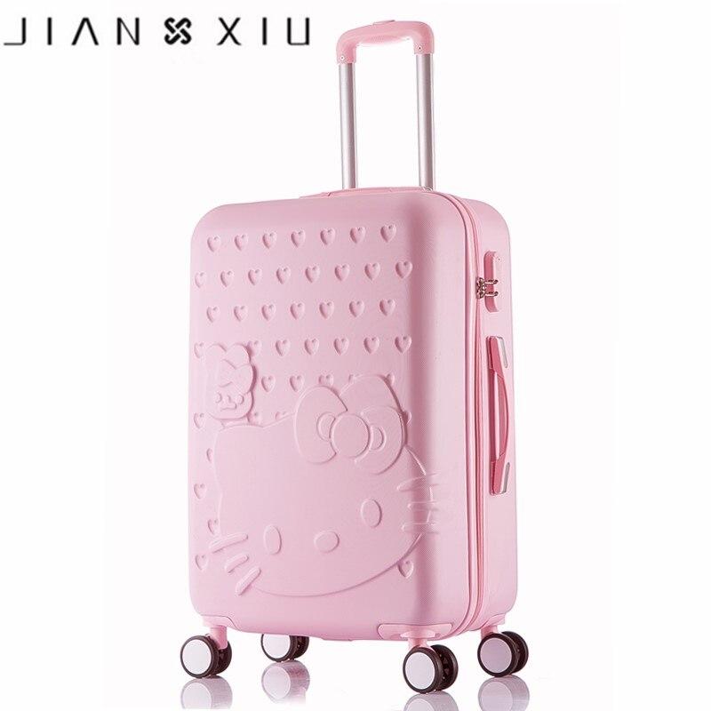 Hello Kitty un ensemble ABS PC luxe femmes roulant bagages valise Designer 20 pouces haute qualité 4 roues Spinner aéroport sac