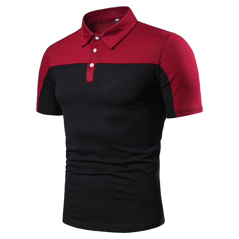 NEGIZBER 2019 New Men's   POLO   Shirt Fashion Stitching Casual Short-sleeved Shirt Solid Color Loose Short-sleeved   POLO   Men