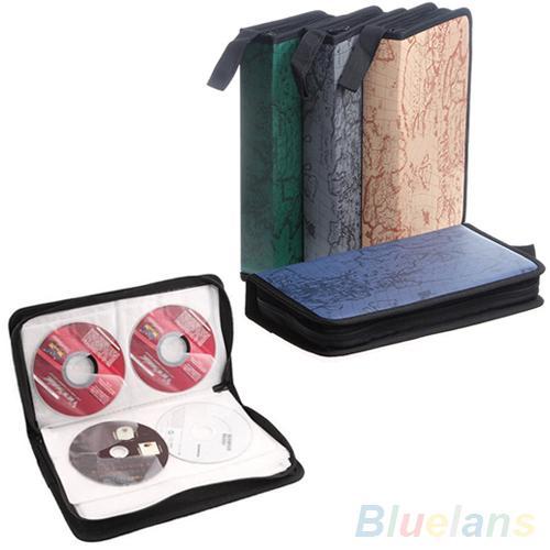 80 Discs Map Pattern CD VCD DVD Storage Holder Case Wallet Carry Organizer Bag