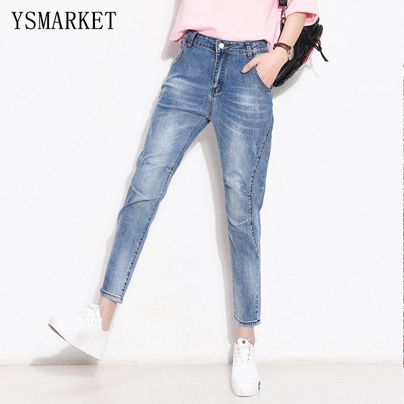 ФОТО Korean Simple Patchwork Solid Plus Size Jeans Nine Casual Denim Pants Woman Harem Slim Jean Trousers S-3XL With Button e1089