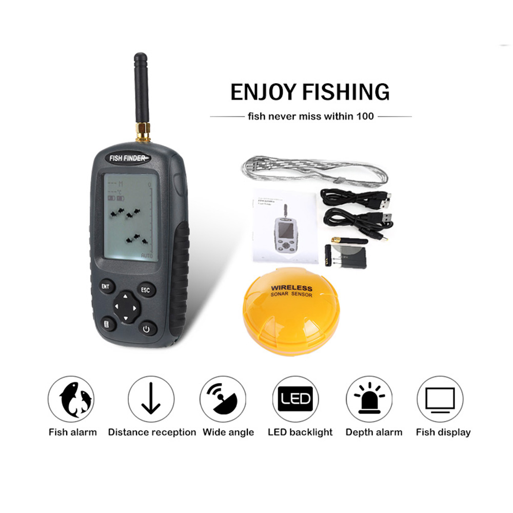 Outlife FF998 Sonar Wireless Fish Finder 40M Depth 125KHz Sonar Sensor Echo Sounder Fish Alarm Fishing Finder with LED backlight lucky fishing sonar wireless wifi fish finder 50m130ft sea fish detect finder for ios android wi fi fish finder ff916