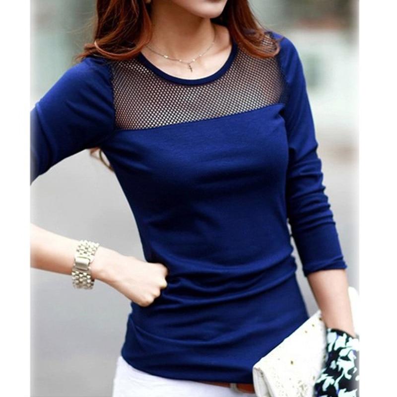 61d122f535 Korean Fashion Women's Summer Style Cotton Lace Mesh Patchwork Long Sleeve  Shirts T Shirt Women Tops Tees T-Shirt