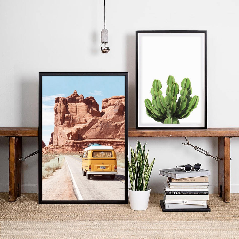 Us 2 57 20 Off Desert Print Cactus Poster Wall Art Mexican Western Decor Boho Road Trip Retro Camper Van Explore Canvas Painting In