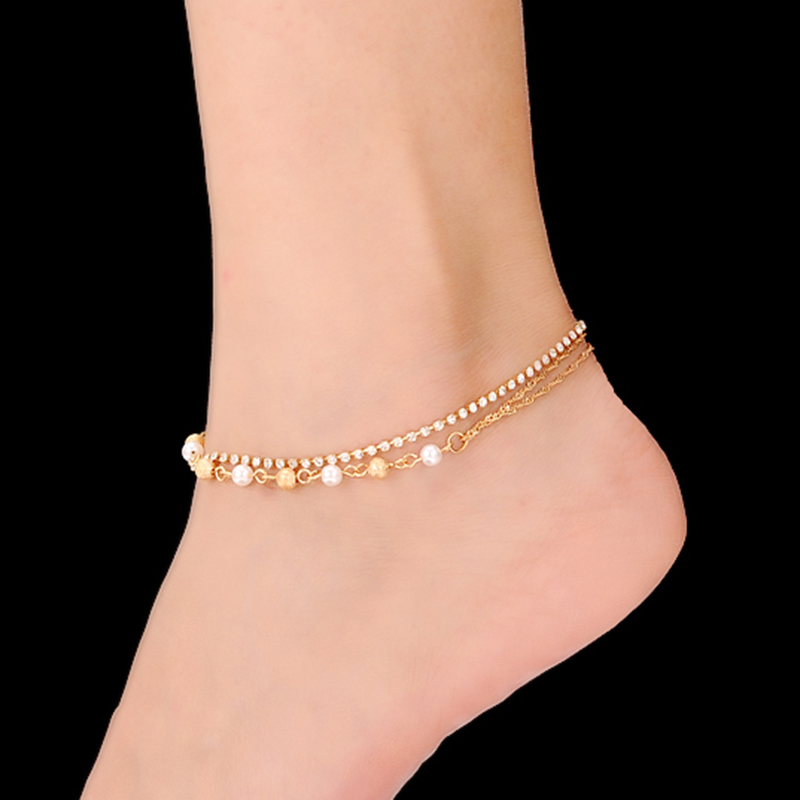 2016 Newest High Quality Beach Rhinestones Pearl Anklets for Women Gold and Silver Plated Bracelet on