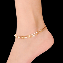 2016 Newest High Quality Beach Rhinestones Pearl Anklets for Women Gold and Silver Plated Bracelet on The Leg AK-005